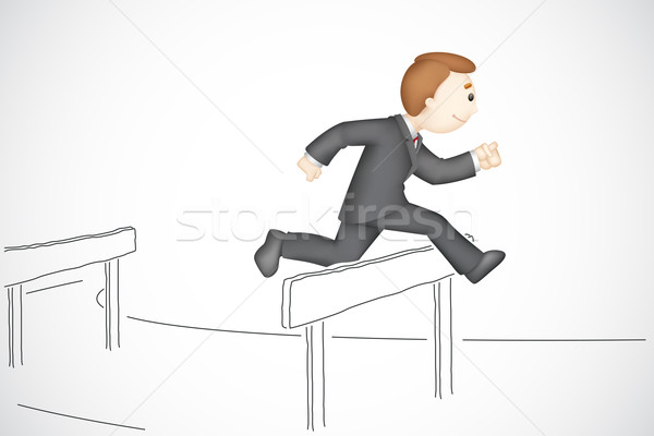 Business Man in Hurdle Race Stock photo © vectomart