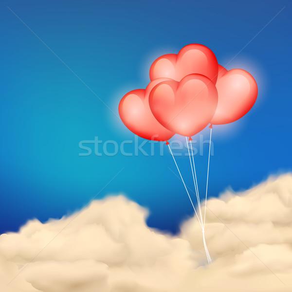 Heart Balloon in Cloudscape Stock photo © vectomart