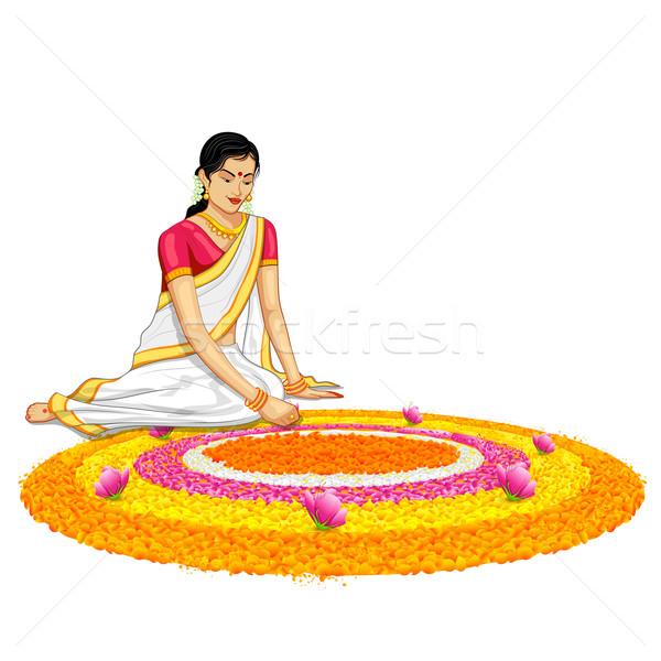 Woman making rangoli for onam Stock photo © vectomart