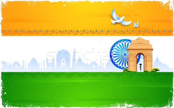 Hint bayrak örnek tekerlek Hindistan kapı Stok fotoğraf © vectomart
