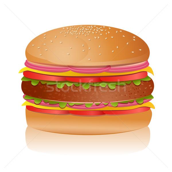 Nyami hamburger illusztráció izolált étel kenyér Stock fotó © vectomart