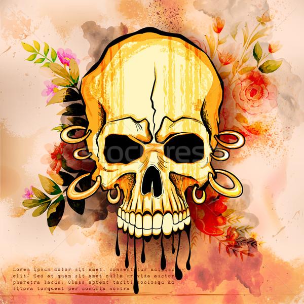 Сток-фото: стиль · череп · печать · ретро · иллюстрация