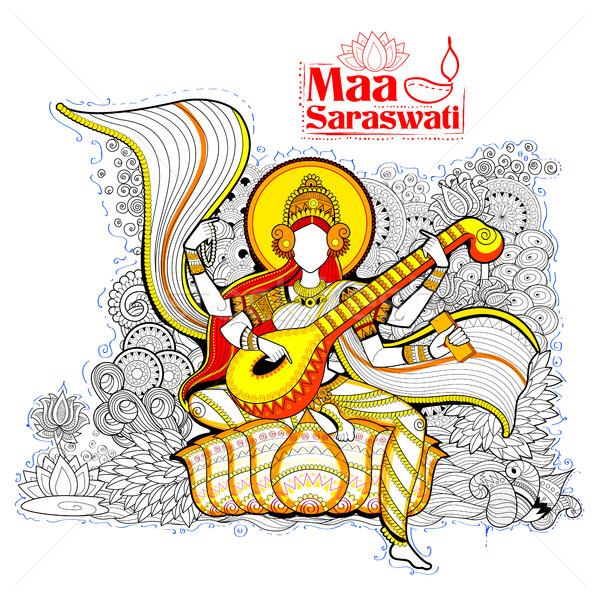 Goddess of Wisdom Saraswati for Vasant Panchami India festival background Stock photo © vectomart