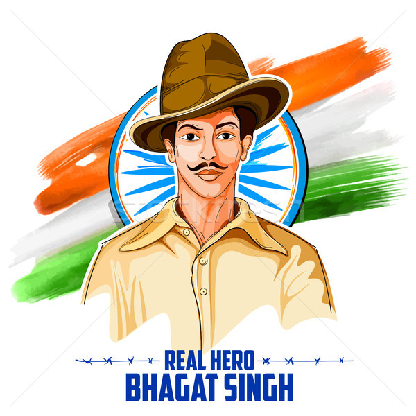 Tricolor India background with Nation Hero and Freedom Fighter Bhagat Singh for Independence Day Stock photo © vectomart