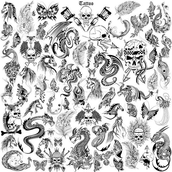 Tatuaje arte diseno cráneo caballo dragón Foto stock © vectomart