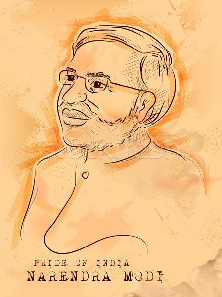 Vintage background with Indian Great Leader Narendra Modi Pride of India Stock photo © vectomart