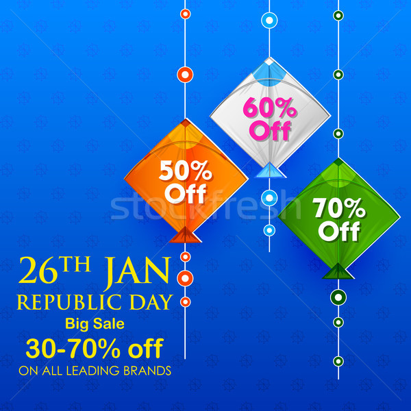 Indian background with tricolor kites for 26th January Happy Republic Day of India Sale and Promotio Stock photo © vectomart