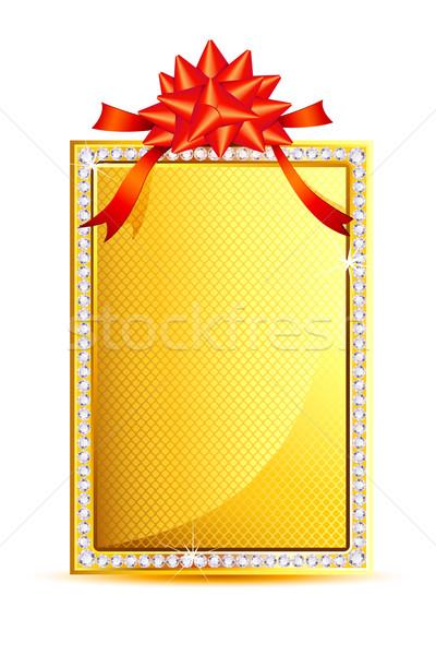 Band Geschenkkarte Illustration Bogen golden Kunst Stock foto © vectomart