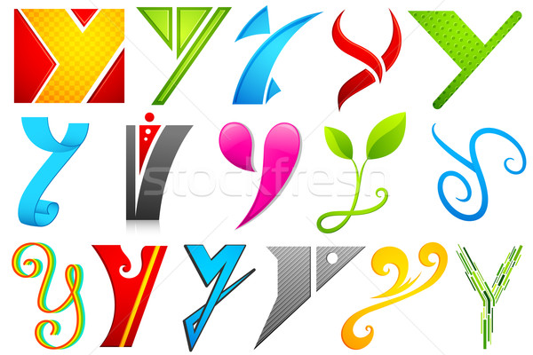 Different Icon with alphabet Y Stock photo © vectomart