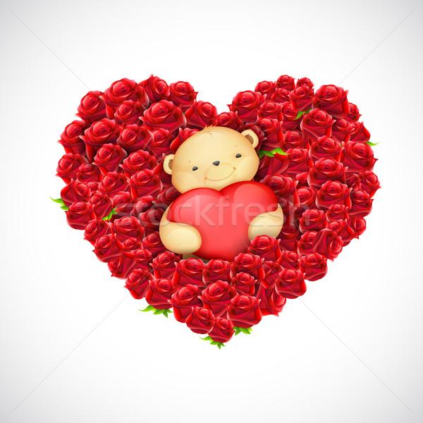 Teddy Bear Couple with Heart Balloon Stock photo © vectomart
