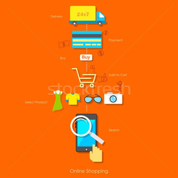 Online Shopping Pictogram Stock photo © vectomart