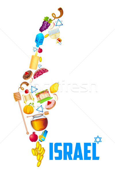 Holy object forming map of Israel Stock photo © vectomart