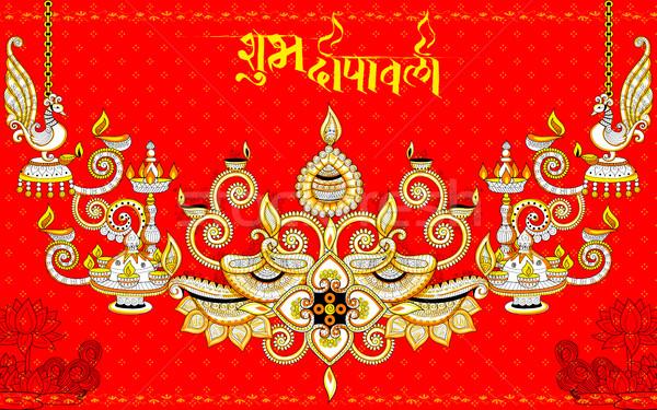Burning diya on happy Diwali Holiday doodle background for light festival of India Stock photo © vectomart
