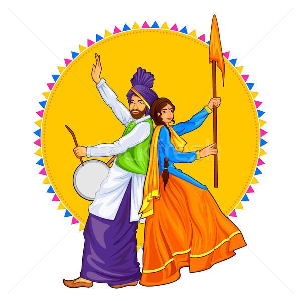 Sikh casal jogar dança férias como Foto stock © vectomart