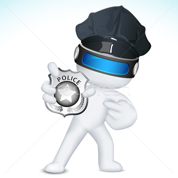 3d Man in Vector showing Police Badge Stock photo © vectomart