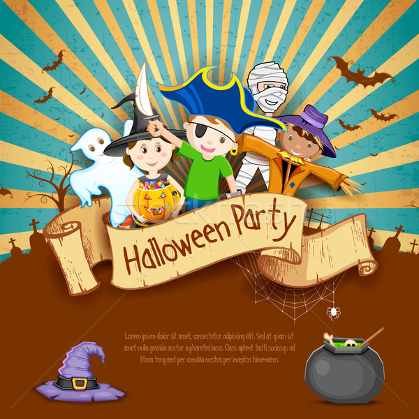Kids in Halloween Party Stock photo © vectomart