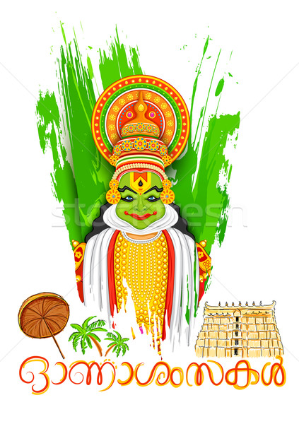 Kathakali dancer face with message Happy Onam Stock photo © vectomart