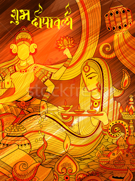 Burning diya on happy Diwali Holiday doodle background for light festival of India Stock photo © vectomart