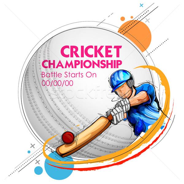 Foto stock: Jogar · críquete · campeonato · esportes · ilustração · homem