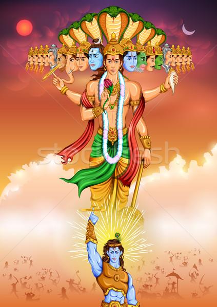 иллюстрация мальчика поклонения власти индийской Сток-фото © vectomart