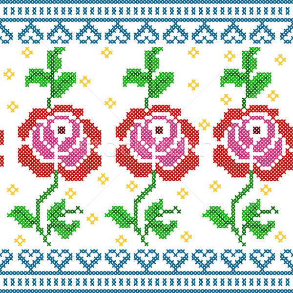 クロス ステッチ 刺繍 バラ フローラル デザイン ストックフォト © vectomart