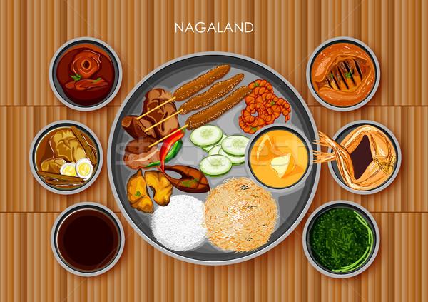 традиционный кухня продовольствие еды Индия иллюстрация Сток-фото © vectomart