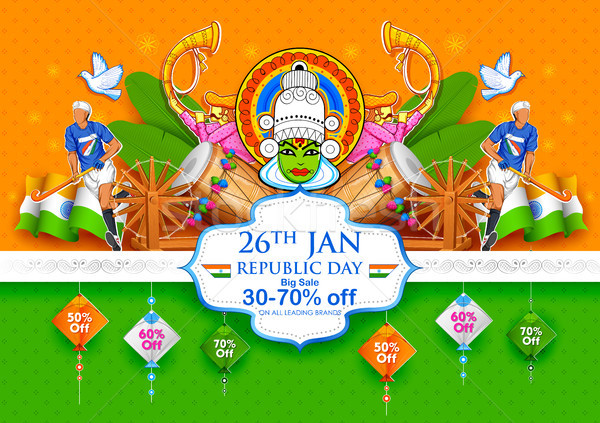 Stock photo: Tricolor banner with Indian flag for 26th January Happy Republic Day of India