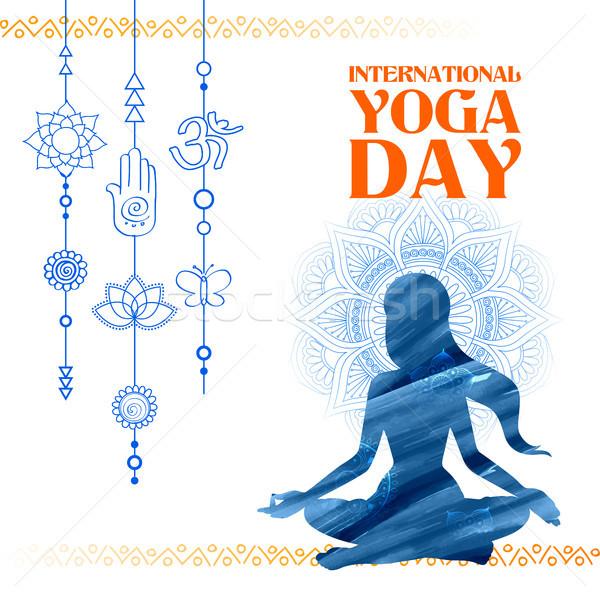Foto stock: Internacional · yoga · día · ilustración · mujer · mundo