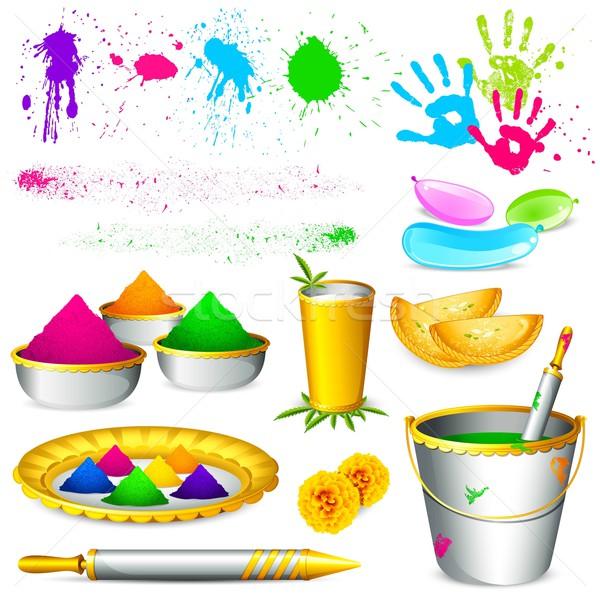 Ilustracja zestaw kolory biały farby Zdjęcia stock © vectomart