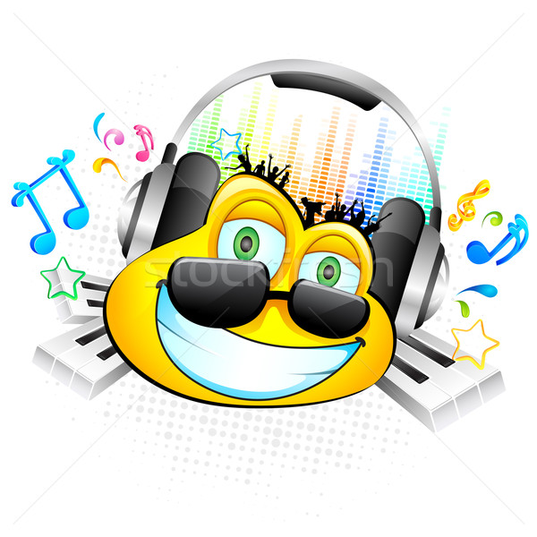Stock photo: Smiley enjoying Music