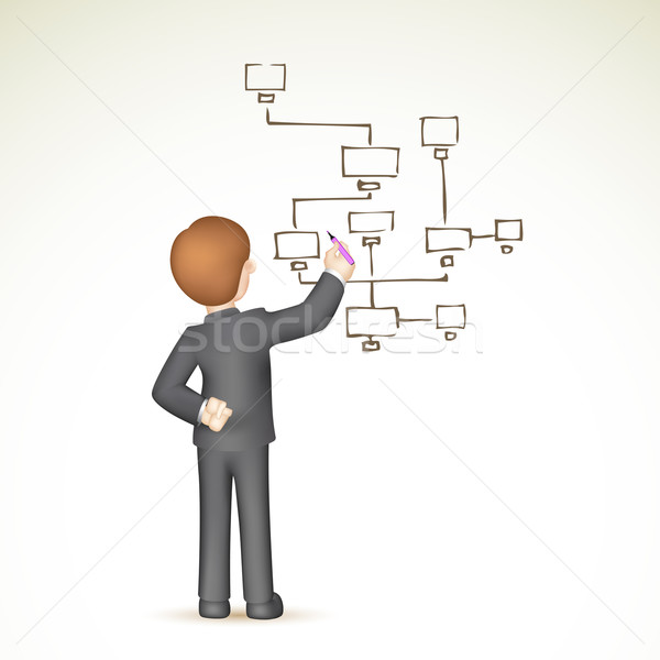 Business stroomschema illustratie 3D zakenman vector Stockfoto © vectomart