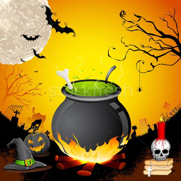 Halloween caldeirão crânio noite lua verde Foto stock © vectomart