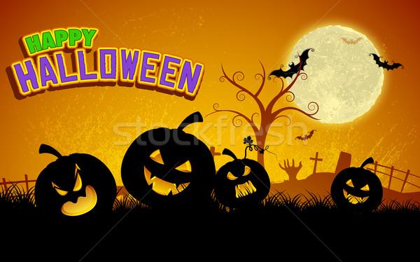 Kabak halloween gece örnek ağaç parti Stok fotoğraf © vectomart