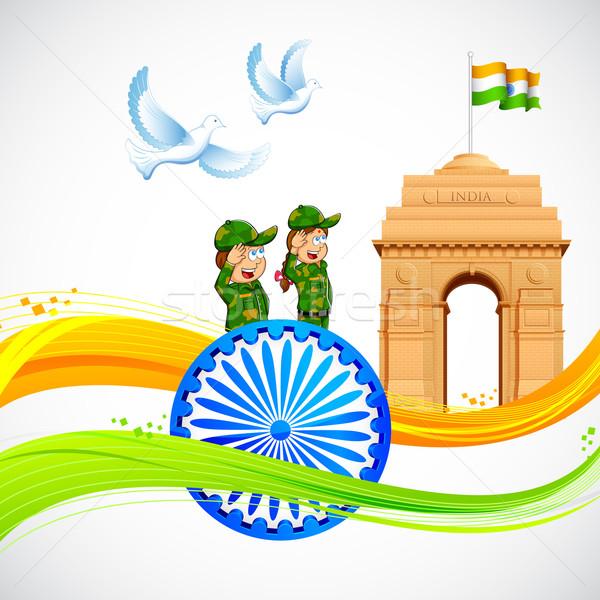 Zdjęcia stock: Indie · bramy · indian · banderą · ilustracja
