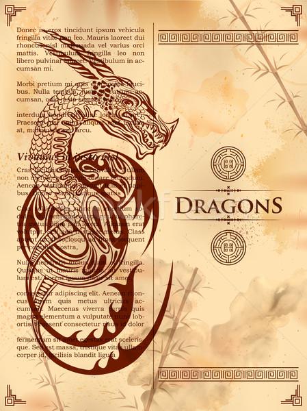 Stok fotoğraf: Ejderha · çizim · eski · bağbozumu · kitap