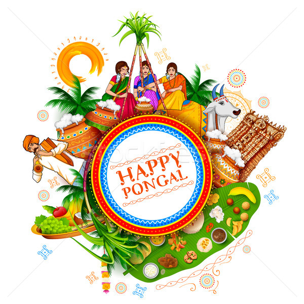 Happy Pongal Holiday Harvest Festival of Tamil Nadu South India greeting background Stock photo © vectomart