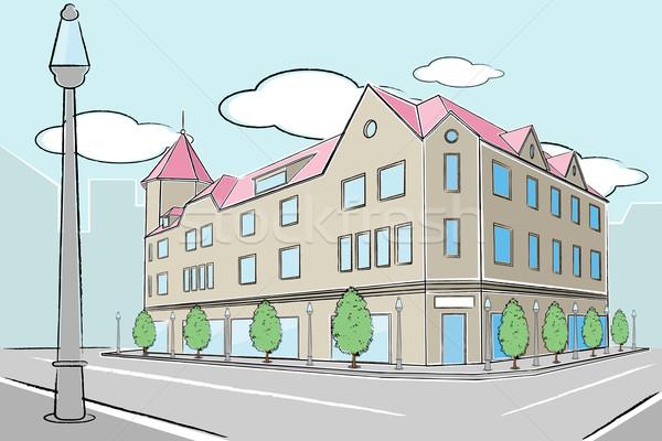 Urbanas edificio ilustración vista de la calle lámpara post Foto stock © vectomart