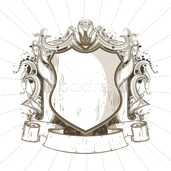 щит иллюстрация ретро-стиле дизайна искусства Сток-фото © vectomart