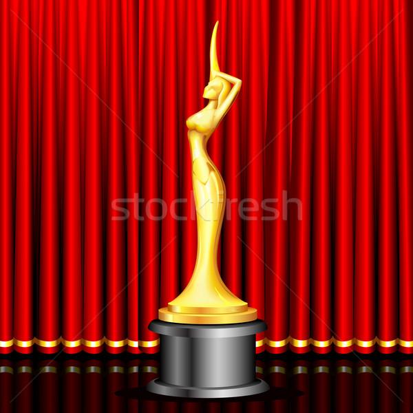 Dorado adjudicación etapa ilustración dama estatua Foto stock © vectomart