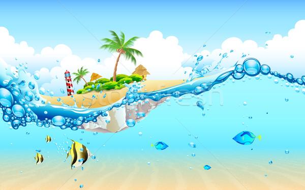 île subaquatique illustration vue arbre poissons Photo stock © vectomart