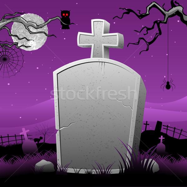 Grób kamień halloween noc ilustracja szczęśliwy Zdjęcia stock © vectomart