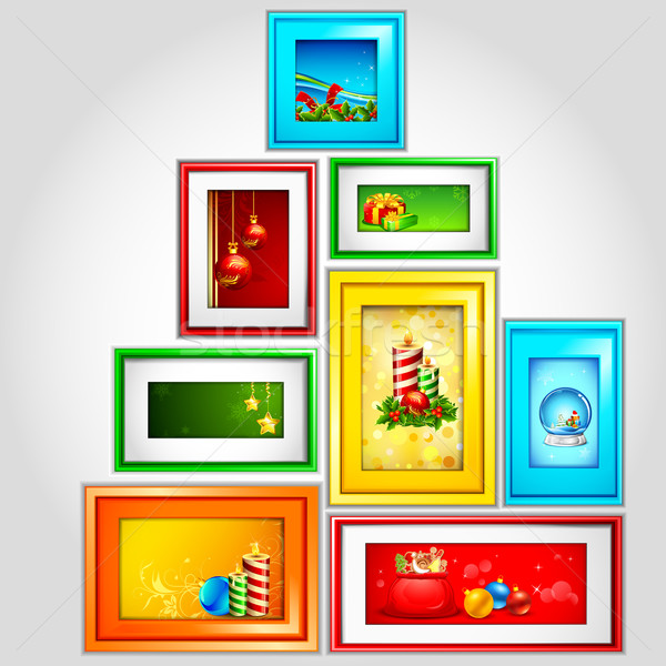 Colorful Christmas Photoframe Stock photo © vectomart