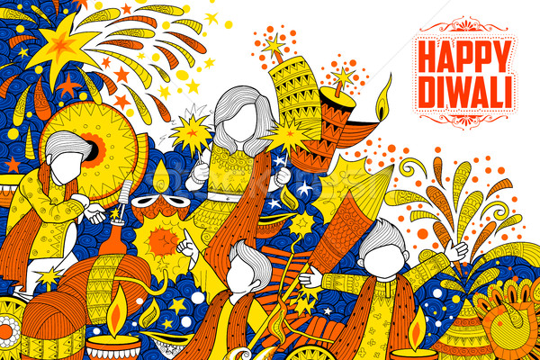 Kid celebrating happy Diwali Holiday doodle background for light festival of India Stock photo © vectomart