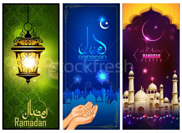 Banner sjabloon bericht arabisch ramadan illustratie Stockfoto © vectomart
