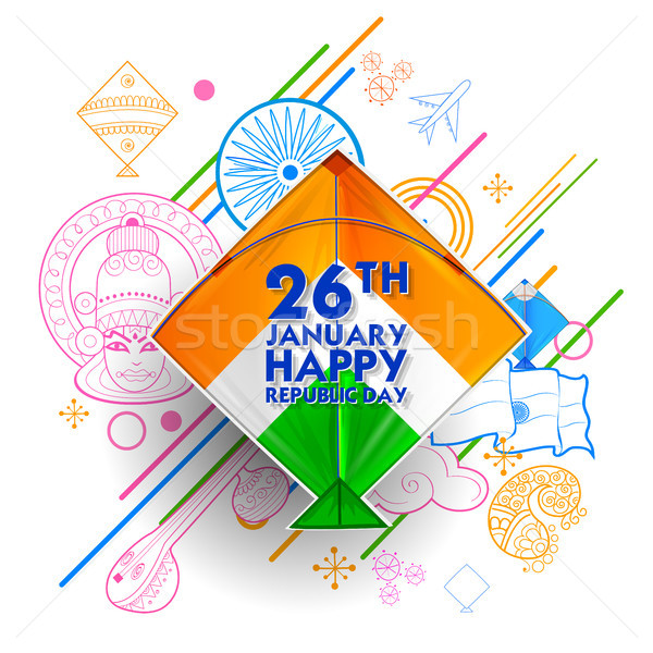 Indian background with tricolor kites  for 26th January Happy Republic Day of India Stock photo © vectomart