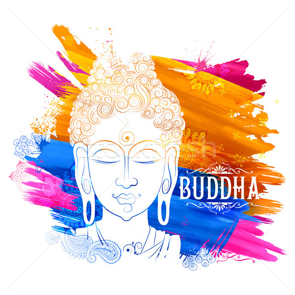 Lord Buddha in meditation for Buddhist festival of Happy Buddha Purnima Vesak Stock photo © vectomart