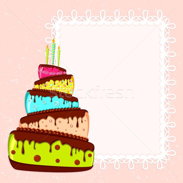 Illustration coloré gâteau alimentaire heureux Photo stock © vectomart
