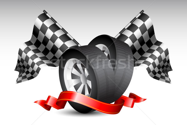 Race Flags with Tyre Stock photo © vectomart