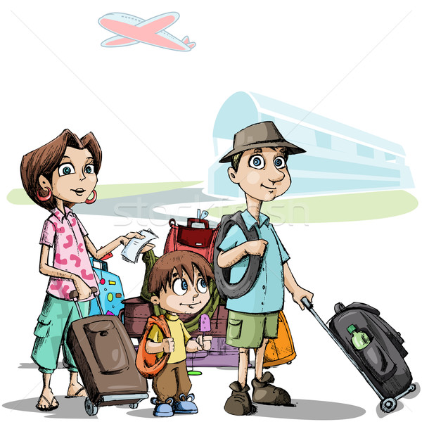Famille tournée illustration bagages permanent aéroport Photo stock © vectomart