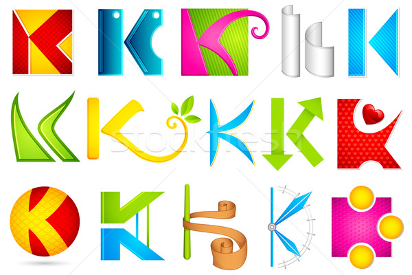 Différent icône alphabet illustration coloré Photo stock © vectomart